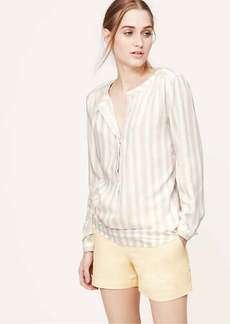 Petite Striped Collarless Henley Blouse