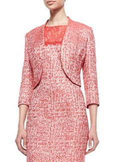 Kay Unger New York Cutaway Hem 3/4-Sleeve Jacket, Cherry