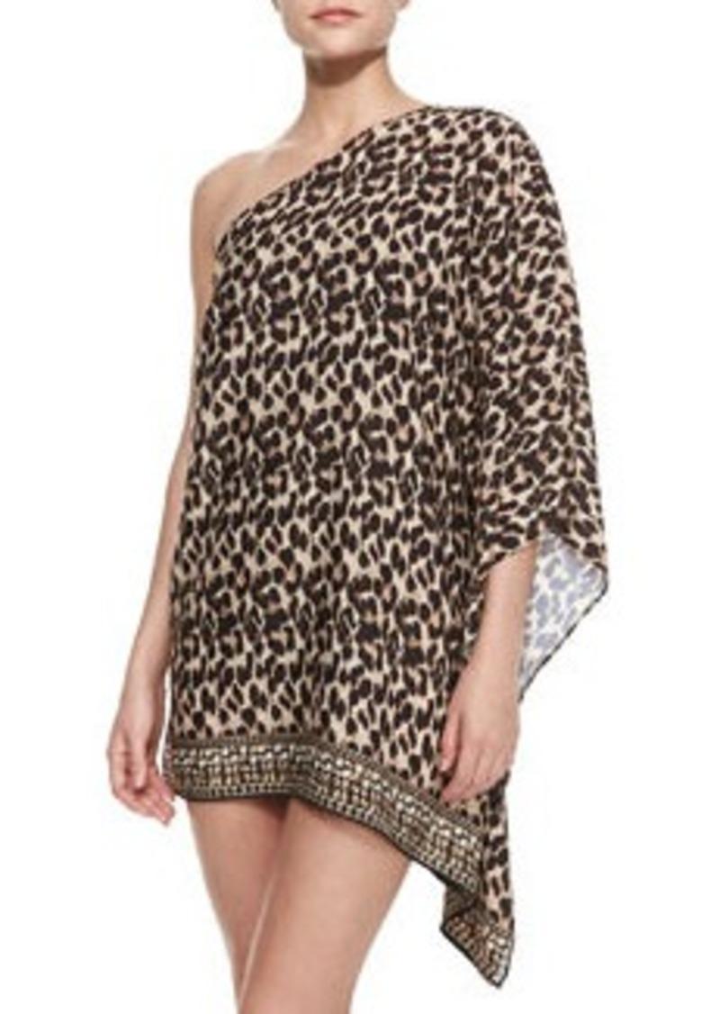 Leopard-Print One-Shoulder Coverup   Leopard-Print One-Shoulder Coverup