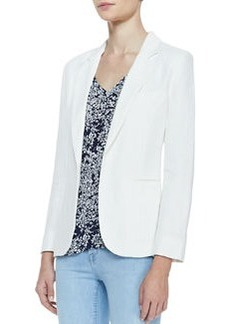 Joie Mehira Linen Notch-Collar Blazer, White