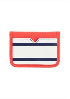 Stripe leather card case