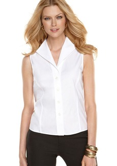 Jones New York Petite Shirt, Sleeveless Button Down Easy Care