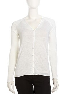 Lafayette 148 New York Voile Deep-V Button-Front Cardigan, White