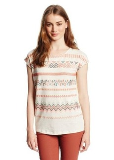 Lucky Brand Women's Neon Embroidered Tee