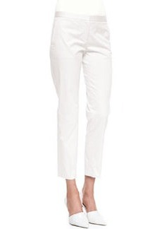 Summer Twill Cropped Pants, White   Summer Twill Cropped Pants, White