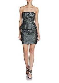 ABS Strapless Metallic Jacquard Dress