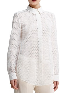 Chloe Button-Front Eyelet Blouse, White