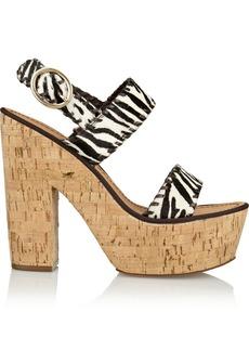 Diane von Furstenberg Remy zebra-print calf hair platform sandals