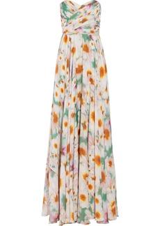 Badgley Mischka Floral-print silk-chiffon gown