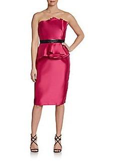 Carmen Marc Valvo Gathered-Peplum Sateen Dress