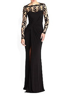 David Meister Lace & Draped Jersey Slit Gown
