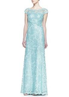 Tadashi Shoji Short-Sleeve Sequin & Lace A-Line Gown, Mint