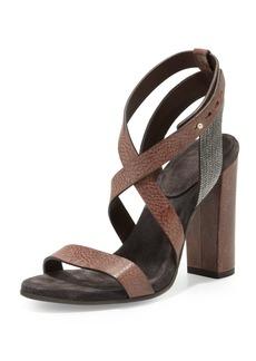 Brunello Cucinelli Crisscross Bead-Strap Sandal, Tobacco