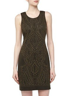 Nicole Miller Sleeveless Studded Stretch-Knit Dress, Fatigue