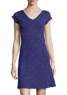 Marc New York by Andrew Marc Dot Jacquard Fit-and-Flare Dress, Purple