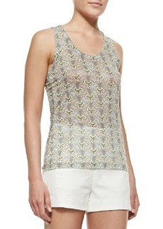 Lightweight Printed Sheer Sleeveless Top   Lightweight Printed Sheer Sleeveless Top