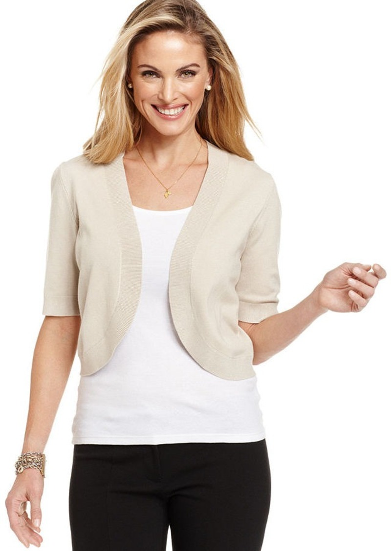 Charter Club Petite Elbow-Sleeve Bolero Sweater