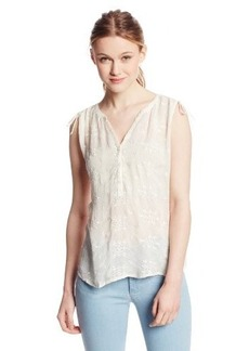 Lucky Brand Women's Natural Embroidered Top