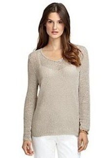 Long-Sleeve Taped Yarn V-Neck Sweater