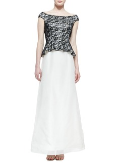 Kay Unger New York Off-Shoulder Peplum Lace-Bodice Gown, Black/White