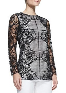 Lela Rose Long-Sleeve Lace Blouse, Black/Ivory