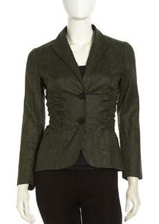 Lafayette 148 New York Leonara Ruched Linen Jacket, Kale