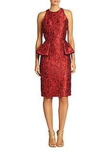 Carmen Marc Valvo Brocade Peplum Cocktail Dress