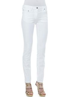 Roberto Cavalli 5-Pocket Solid Skinny Jeans, White