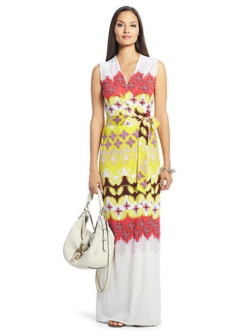 New Yahzi Long Maxi Silk Jersey Wrap Dress