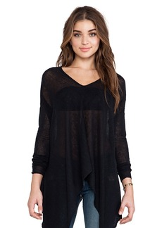Central Park West Santiago Asymmetric Hem Sweater in Black