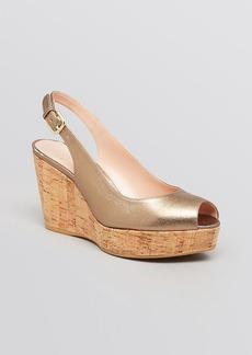 Stuart Weitzman Peep Toe Platform Wedge Sandals - Jean