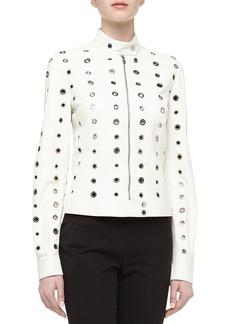 Michael Kors Grommet Detailed Leather Moto Jacket, Optic White