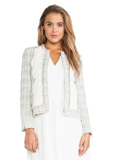 Rebecca Taylor Mixed Tweed & Lace Jacket in Blue