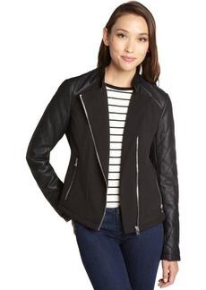 Calvin Klein black faux leather mixed media moto jacket