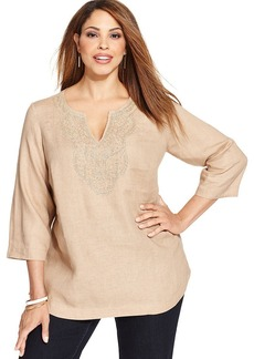 Charter Club Plus Size Linen Beaded Tunic Top