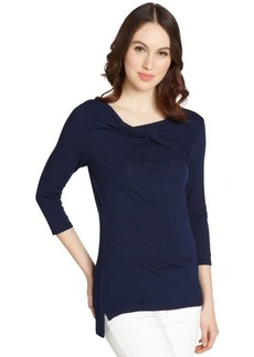 Tahari navy stretch ruched 'Ainsley' long sleeve top