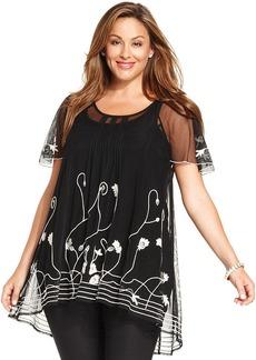 Alfani Plus Size Embroidered Flutter-Sleeve Blouse