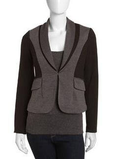 Laundry by Shelli Segal Colorblock Shawl-Collar Jacket, Dark Charcoal/Black