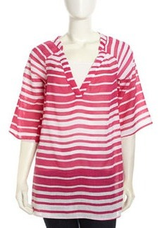 Ella Moss Half-Sleeve Striped Voile Tunic, Guava