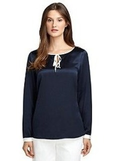 Long-Sleeve Silk Blouse with Trim