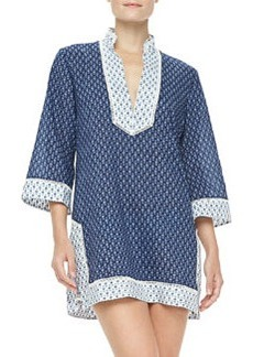 Tory Burch Boria Voile 3/4-Sleeve Coverup Tunic