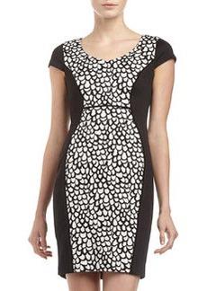 Marc New York by Andrew Marc Cap-Sleeve Print-Inset Dress, Black/White