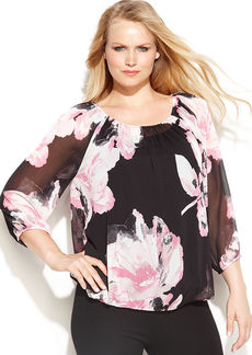 INC International Concepts Plus Size Printed Peasant Top