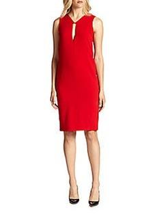 DKNY Geometric-Neckline Shift Dress