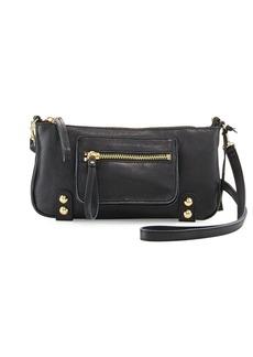 Linea Pelle Dylan Zip Leather Crossbody Bag, Black