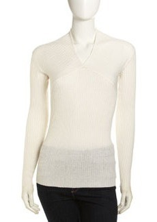 Isda & Co Draped V-Neck Sweater, Ivory
