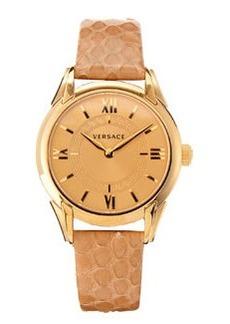 Versace Snakeskin-Strap Bracelet Watch, Beige