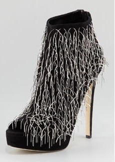 Brian Atwood Twinkle Chain-Fringe Suede Bootie