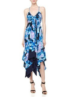 T Bags Strappy Handkerchief-Hem Dress, Blue/Multi