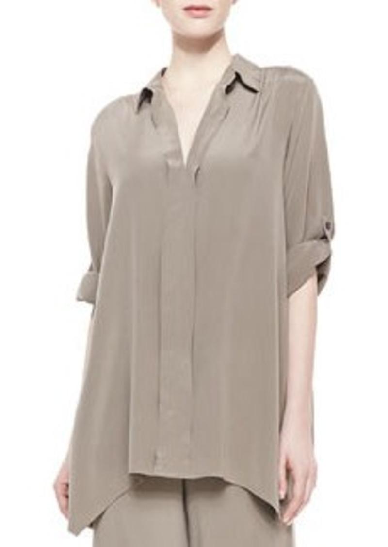 Go Silk Dolman-Sleeve Silk Tunic, Petite